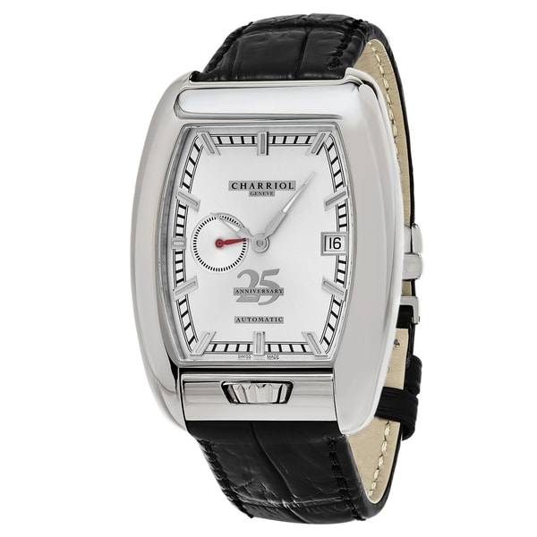 Charriol Men's C25SS.391.006 'MD52' Silver Dial Black Leather Strap 'Anniversary' Swiss Automatic Watch 35595426