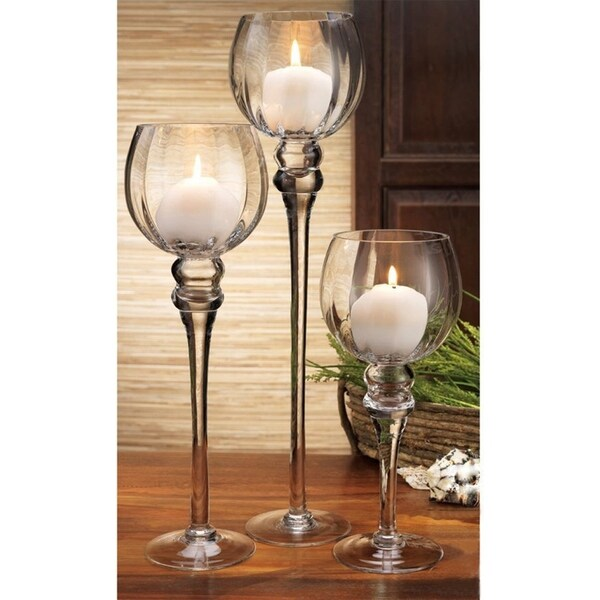 Giant Clear Wine Glass Shaped Candle Holder Set - Set Of 3 Glass Pillar Tea Light Candle Holder 35643232