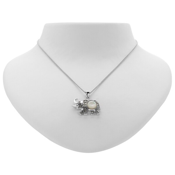 Addison Lane Marcasite, Garnet and Mother of Pearl Elephant Pendant 35668933