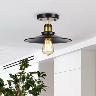 Anastasia Cone Shape Black and Metallic Gold Industrial Flush Mount