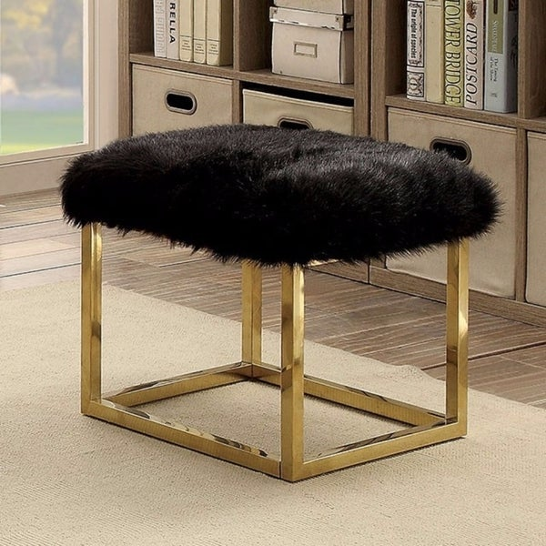 Adorable Contemporary Small Bench, Black  & Gold 35685567
