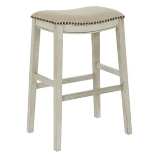 OSP Home Furnishings 30 Inch Bar Height Saddle Stools in Fabric Seat and Antique Base, 2 Pack