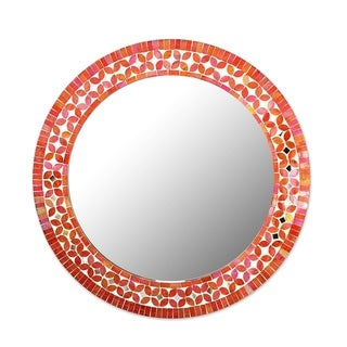 Handmade Shimmering Blossoms Round Mosaic Multicolor Wall Mirror from India (India) - Orange