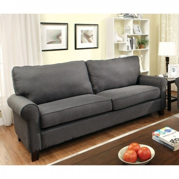 Fabric Wooden Transitional Style Sofa, Gray