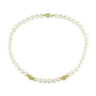Miadora Signature Collection 14k Gold Cultured Akoya Pearl 3/4ct TDW Diamond Necklace (G-H, I1-I2) (9-9.5 mm)