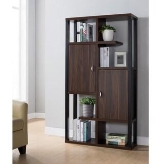 Furniture of America Hami Contemporary Walnut Cabinet Bookcase