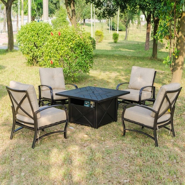 Brazos 5 Piece Firepit Set, 42 Inch Square Firepit Table