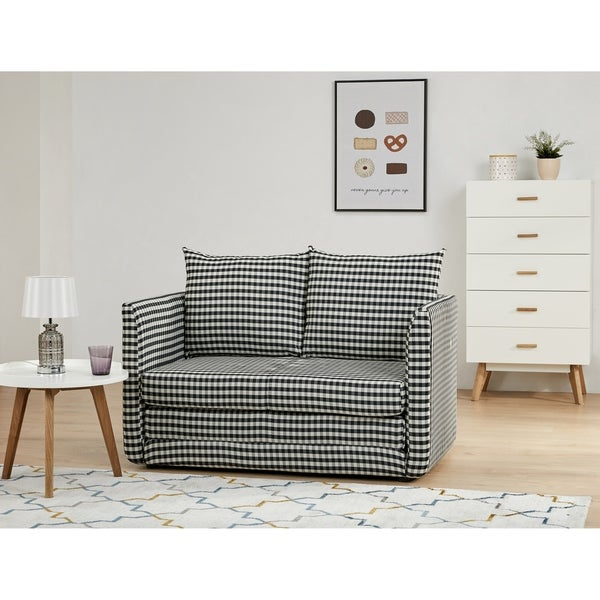 Brighton Gingham Convertible Loveseat Sleeper