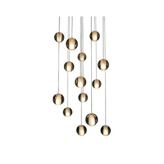 Orion 14-light Floating Glass and Brushed Nickel Globe LED Chandelier - 19 x 122