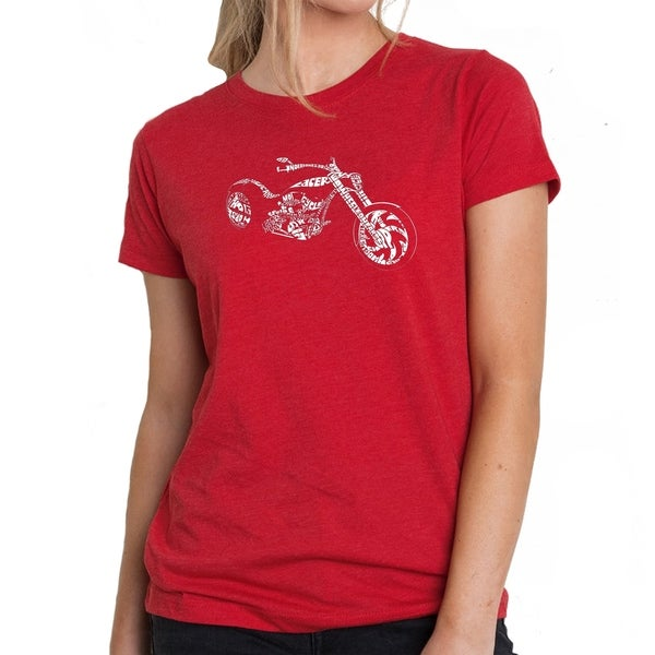 LA Pop Art Women's Premium Blend Word Art T-shirt - MOTORCYCLE 35789077