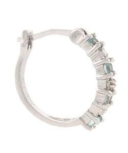 Glitzy Rocks Sterling Silver Diamond Blue Topaz Hoop Earrings