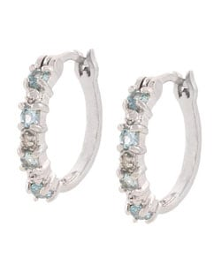 Glitzy Rocks Sterling Silver Diamond Blue Topaz Hoop Earrings