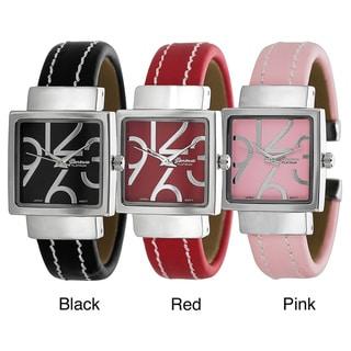 Geneva Platinum-Colored White-Stitch Bangle Quartz Watch