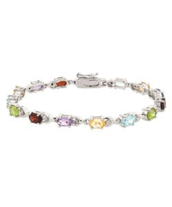 Glitzy Rocks Sterling Silver Multi-gemstone Bracelet