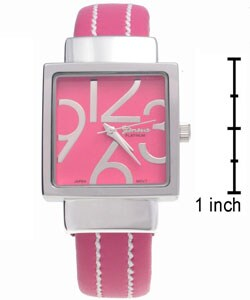 Geneva Platinum Colored White Stitch Bangle Watch