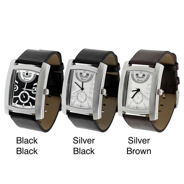 Geneva Platinum Men's Rectangle Face Watch