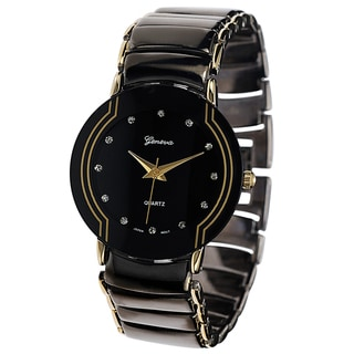 Geneva Platinum Men's Black Steel Watch