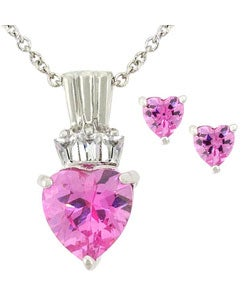 Icz Stonez Sterling Silver Pink CZ Heart Pendant and Earring Set
