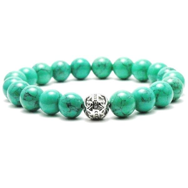 AALILLY Mens 10mm Green Natural Beads Stretch Bracelet 35869421