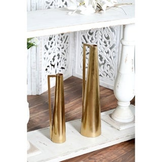 The Curated Nomad Dinah 2-piece Modern Gold Tapered Iron Pitcher Vase Set