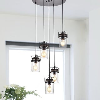 Joanna Oil Rubbed Bronze 5-Light Pendant with Clear Glass Shade
