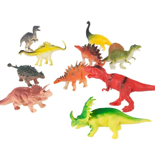 10-Pack Toy Dinosaur Figure Set Includes T-Rex, Stegosaurus, Styracosaurus and More- Fun Assorted Pack Dinosaurs by Hey! Play! 35946139