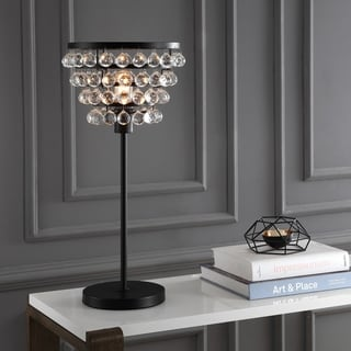 "Buckingham 25"" Crystal/Metal Table Lamp, Bronze/Clear by JONATHAN Y"