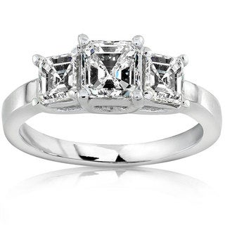 Annello 18k Gold 1 1/2ct TDW Asscher Diamond Ring (H-I, SI)
