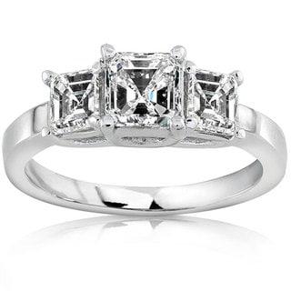Annello 18k Gold 1 1/2ct TDW Asscher Diamond Ring (H-I, SI)