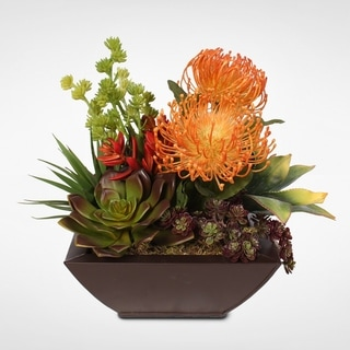 Contemporary Tropical Artificial Succulent in a Metal Container