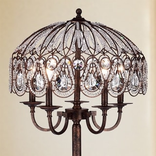 Fridumar Antique Bronze 5-Light Floor Lamp with Crystal Shade