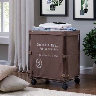 Danya B. Collapsible Canvas Laundry / Clothing Hamper with Wheels