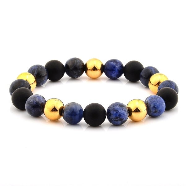 Sodalite and Stainless Steel Beaded Stretch Bracelet (10mm) 36032279
