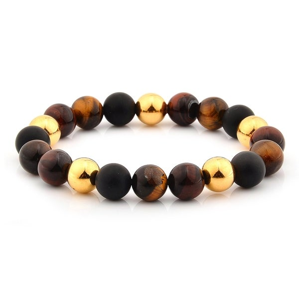 Tiger's Eye and Stainless Steel Beaded Stretch Bracelet (10mm) 36032283