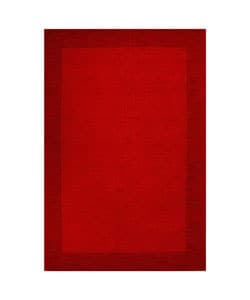 Hand-tufted Red Border Wool Rug (5' x 8')