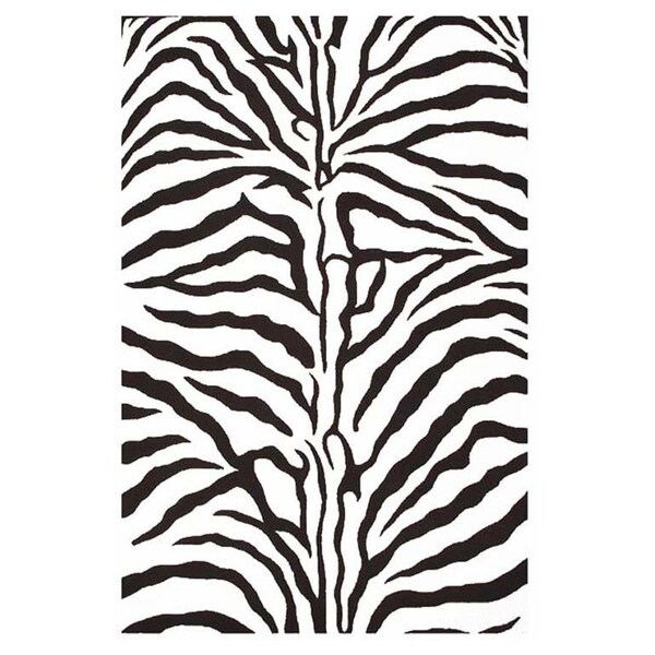 Contemporary Hand Tufted Zebra Stripe Wool Rug 5 X 8