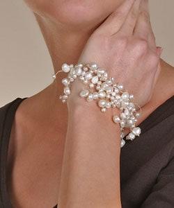 DaVonna White Cultured FW Pearl 7-inch Stretch Bracelet