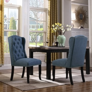 Chic Home Viola Faux Linen Upholstered Dining Chair , Set of 2