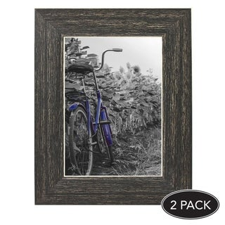 Americanflat 2-Pack, 5x7 inch Barnwood Rustic Picture Frame with Easel, Made for Wall and Table Top Display