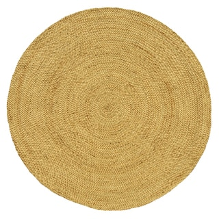 Hand-woven Braided Natural Jute Rug (6' Round)