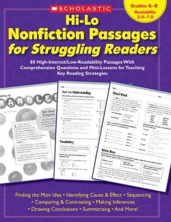 Hi-Lo Nonfiction Passages for Struggling Readers: 80 High-interest/low-readability Passages With Comprehension Qu... (Paperback)