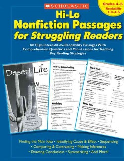 Hi-lo Nonfiction Passages for Struggling Readers: Grades 4-5, Readability 1.0-4.5: 80 High-interest/low-readabili... (Paperback)