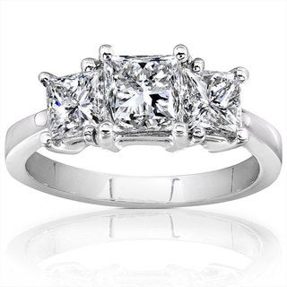 Annello 14k White Gold 2ct TDW Princess Cut Diamond Ring  (H-I, I1-I2)
