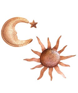 Copper-plated Celestial Wall Hangings (Set of 3)