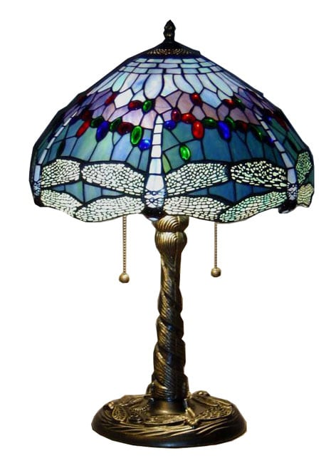 tiffany style blue dragonfly table lamp 10443274. Black Bedroom Furniture Sets. Home Design Ideas