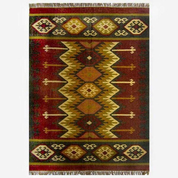 Hand Woven Kilim Burgundy Jute Wool Rug 4 X 6