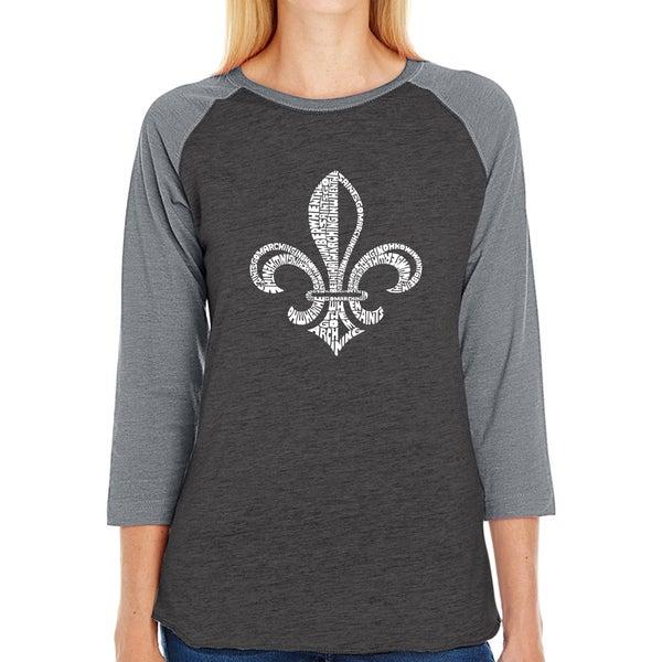 LA Pop Art Women's Raglan Baseball Word Art T-shirt - LYRICS TO WHEN THE SAINTS GO MARCHING IN 36169715