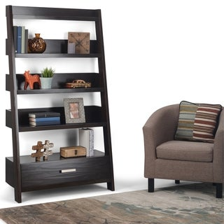 "WYNDENHALL Harriet SOLID WOOD 66 inch x 36 inch Contemporary Ladder Shelf in Dark Chestnut Brown - 36""w x 16""d x 66"" h"
