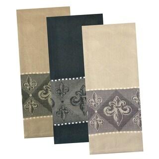 Design Imports Assorted Fleur De Lis Jacquard Dishtowel Set of 3 (28 inches long x 18 inches wide)