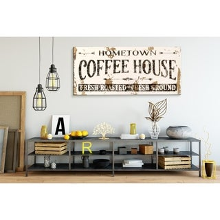 Farmhouse Sign Home Town Coffee House in White
